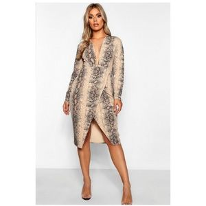 4e5f45717bc8 Boohoo Plus Dresses | Snake Print Plunge Wrap Midi Dress | Poshmark